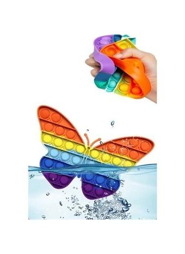 Mashotrend Kelebek Gökkuşağı Push Pop - Pop It Push Fidget - Pop İt Duyusal Oyuncak Zihinsel Stres Renkli